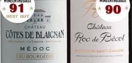 Côtes de Blaignan and Roc de Bécot reach 90 and above.